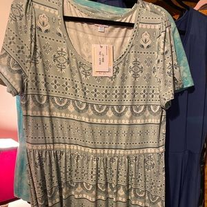 LulaRoe Riley dress, 2XL, NEW, Slinky, blue/green